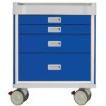 blue medical cart with drawers